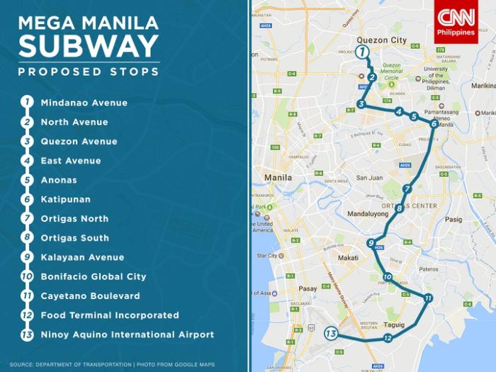 フィリピンのメガマニラ地下鉄路面計画
